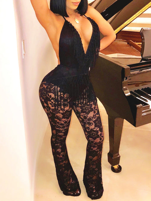 Sexy Solid Lace Deep V-neck Backless See-through Jumpsuit