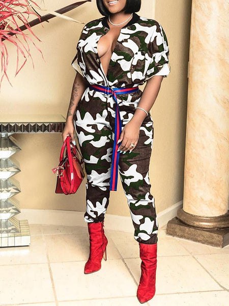 Camouflage Print Waisted Button Jumpsuit Without Belt
