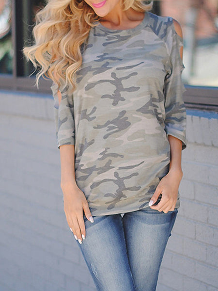 Camouflage Casual Hollow Out Top