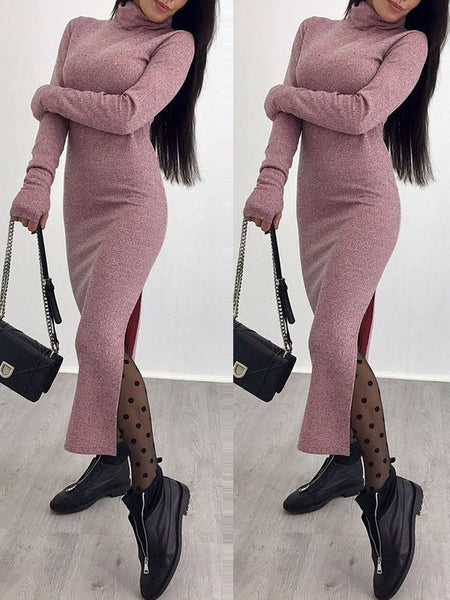 Sold Color Turtleneck Bodycon Midi Dress
