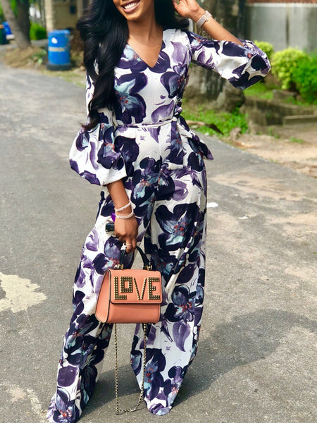 Fashion Lantern Sleeve V-neck Print Jumpsuit