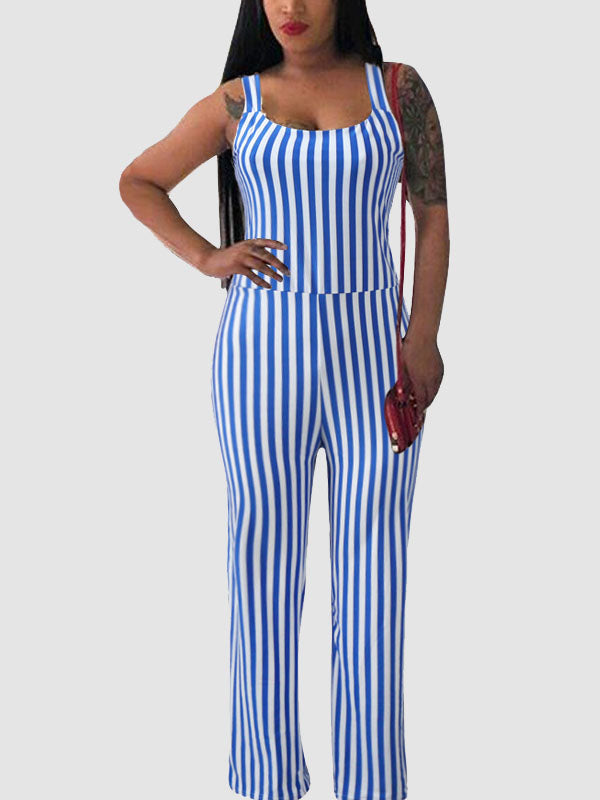 Striped Sleeveless Jumpsuit(Plus Size)