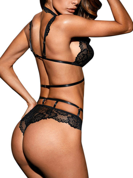 Sexy Black Halter Neck Two-piece Lingerie – ForeverShe b8f70fd3e