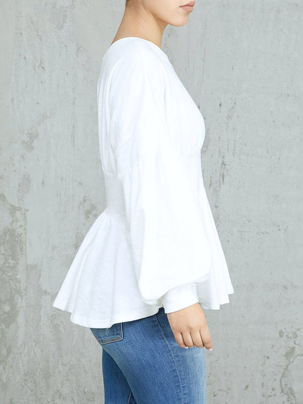 Solid Lantern Sleeve Fashion Simple Casual Top