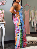Digital Print Sleeveless Belted Jumpsuit
