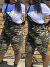 Camouflage Distressed Knee Length Overalls