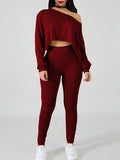 Off One Shoulder Solid Color Two Piece Outfits