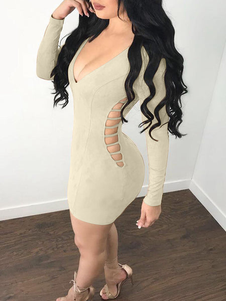 Deep V-Neck Bandage Solid Color Midi Dress
