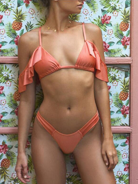Solid Flounced Two Pieces Bikini