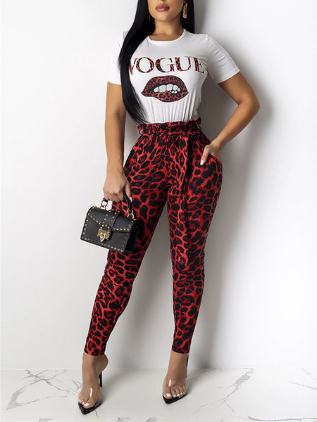 Leopard Lip Printed Pocket Top & Pants