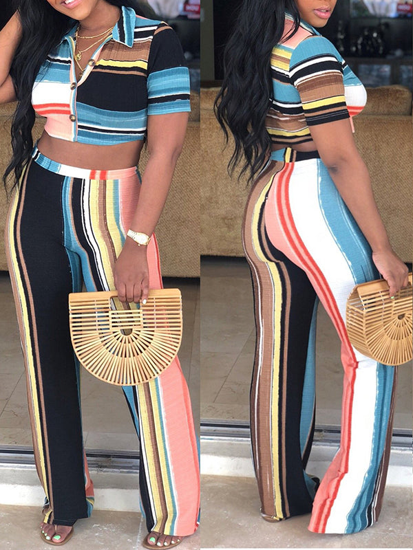Color Block Button High Waist Two Piece Sets