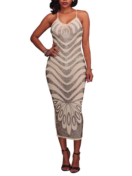 Sequin Sleeveless Solid Color Bodycon Midi Dress