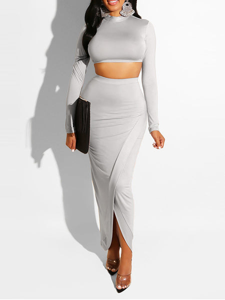 Irregular Hem Solid Color Long Sleeve Two Piece Sets