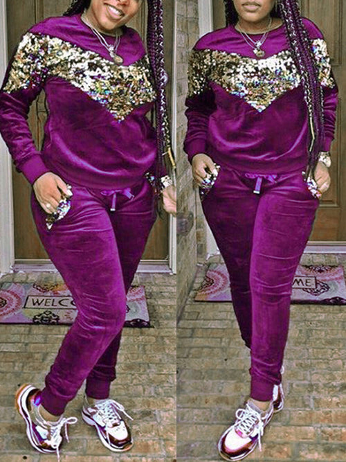 Solid Color Sequin Pocket Long Sleeve Two Piece Outfits