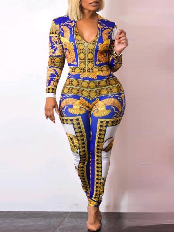 Sexy V-neck Print Long Sleeve Bodycon Jumpsuit