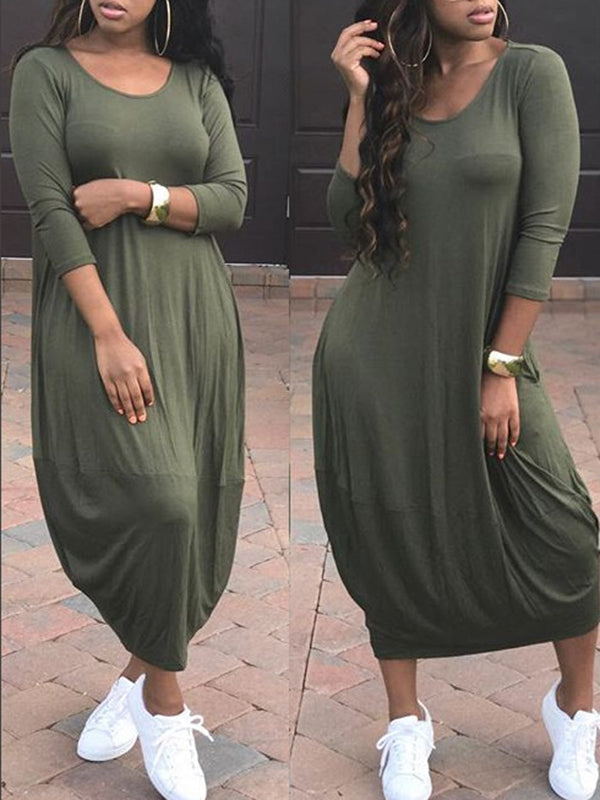 Solid Color Pocket Long Sleeve Casual Dress