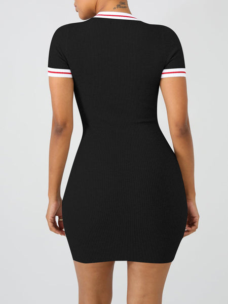 Sexy Hollow Out Stripe Print Short Sleeves Pencil Mini Dress
