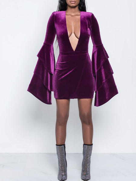 Flounced Long Sleeves Sexy Deep V-neck Mini Dress