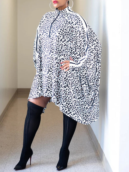Leopard Print Asymmetric Batwing Sleeve Dress