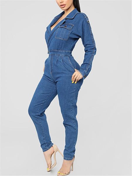 Long Sleeve Turndown Collar Pocket Denim Jumpsuit