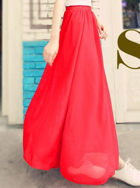 Chiffon Solid Long Skirt