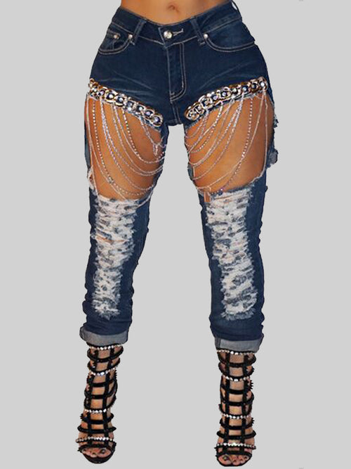 Sexy Chain Denim Pants With Broken Holes