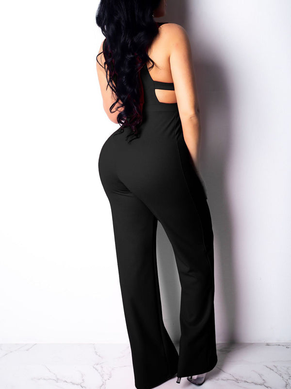 Sexy Solid Color Sleeveless Hollow Out Jumpsuit