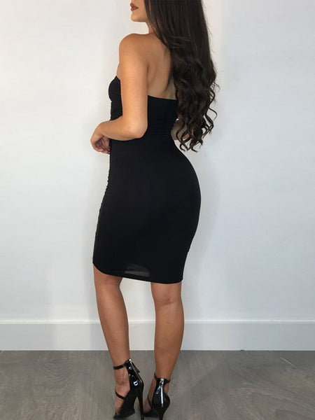 Sexy Solid Hollow Out Midi Dress