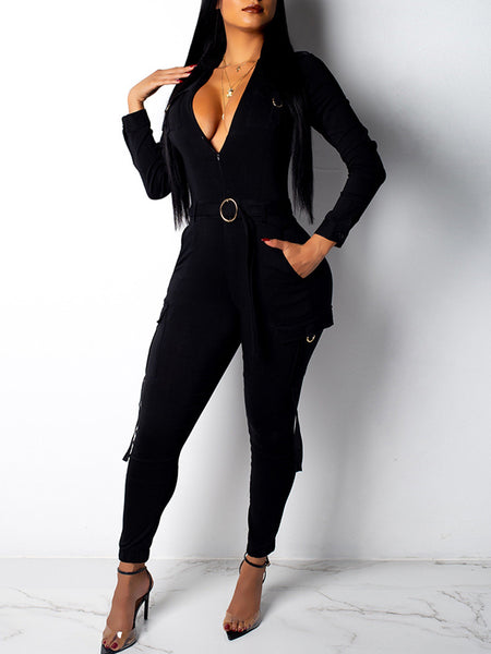 Solid Color Pocket Long Sleeve Belted Overall Jumpsuit