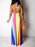 Gradient Print Halter Neck Open Back Maxi Dress