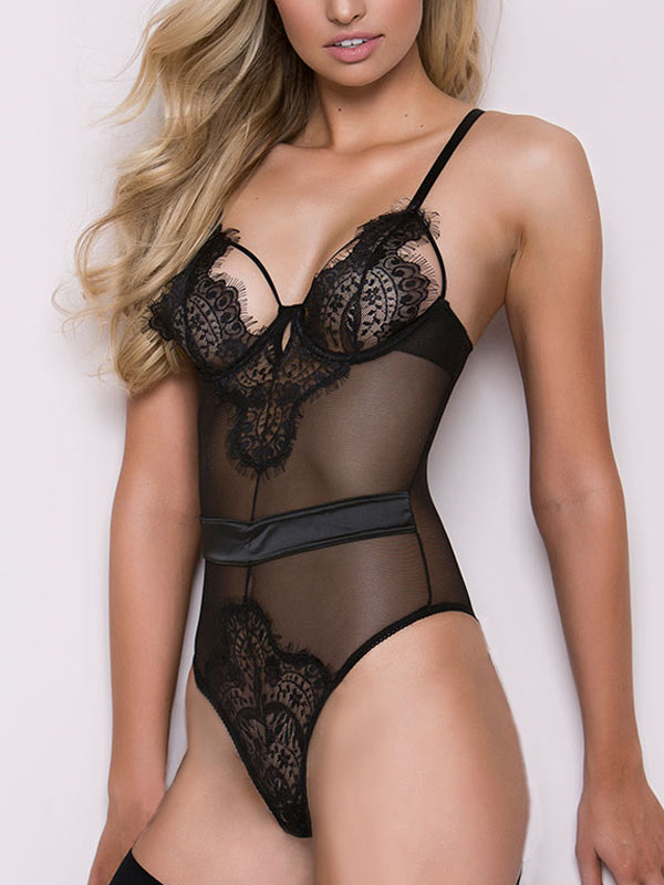 Sexy Hollow Out Lace See-Through Lingerie  Forevershe-3964