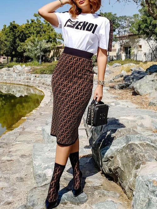 Letter Print Short Sleeve High Waist Top & Midi Skirt