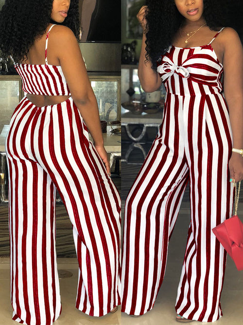 Hollow Out Striped Sleeveless Jumpsuit