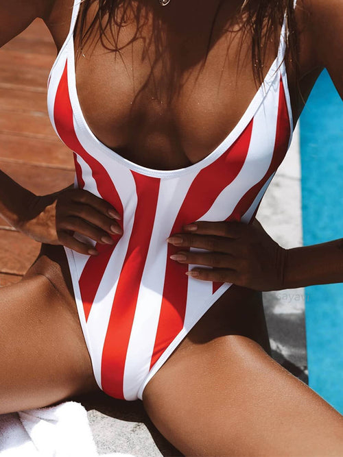 Stripe Print Sleeveless Open Back One Piece Swimwear