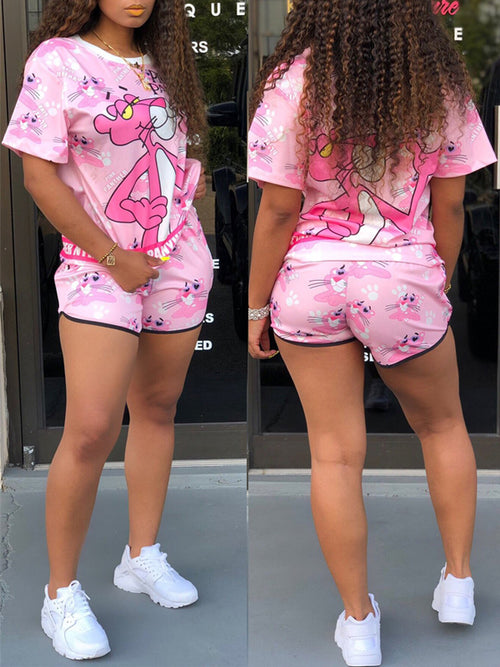 Cartoon Print Round Neck Top & Shorts