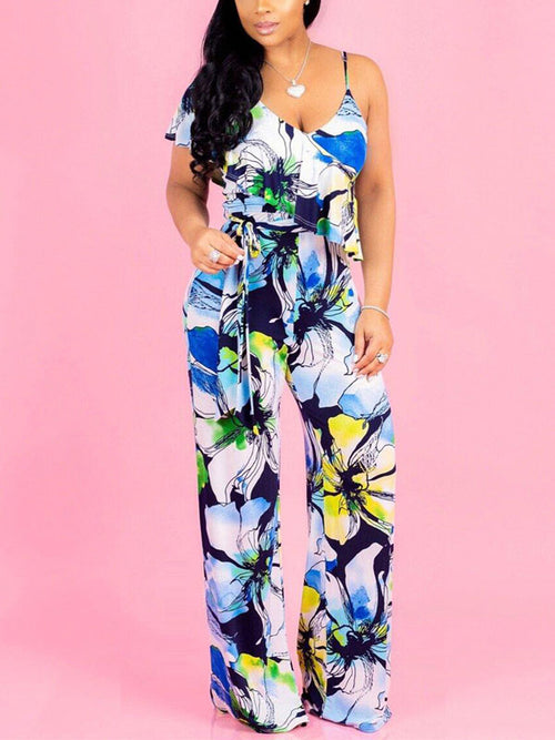Flounced Sleeveless Print Jumpsuit