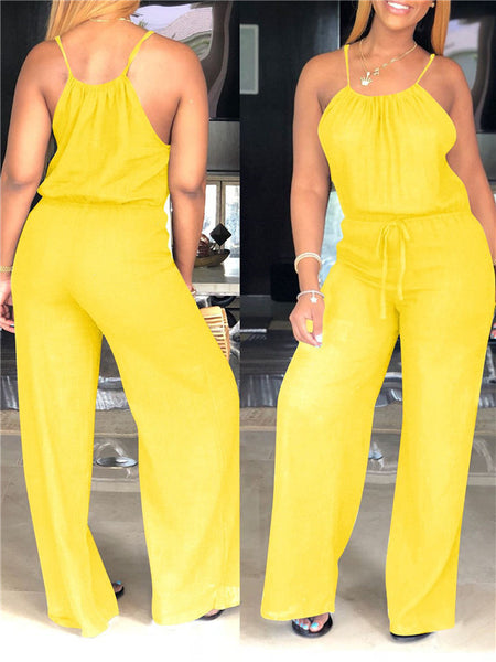 Spaghetti Straps Solid Color Casual Jumpsuit