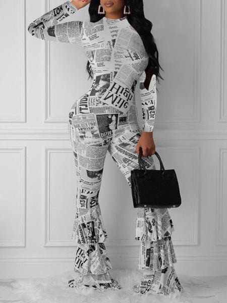 Casual Print High Waist Long Sleeve Two Piece Oufits