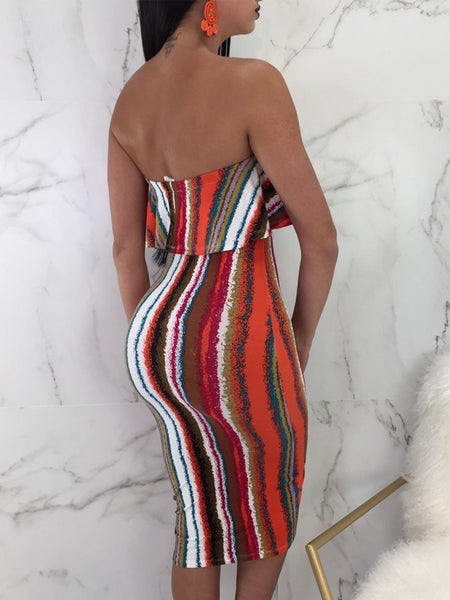 Sexy Striped Off The Shoulder Midi Dress