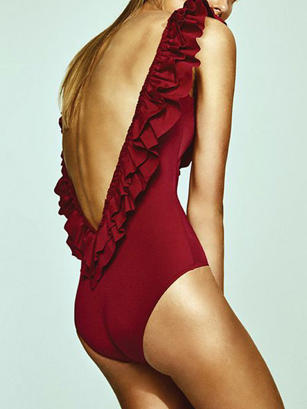 Solid Backless One Piece Swimwear With Ruffles
