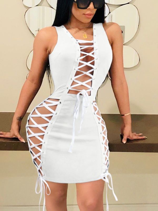 Sexy Bandage Hollow Out Mini Dress