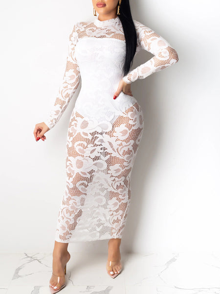 See Through Lantern Sleeve Mesh Dress