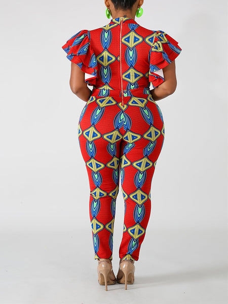 Nation Print Ruffled Sleeve Casual Jumpsuit
