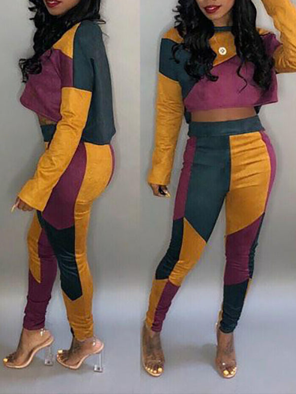 Color Block High Waist Long Sleeve Two Piece Outfits