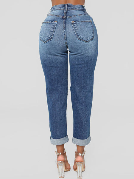 Denim Casual Hollow Out Ripped Jeans
