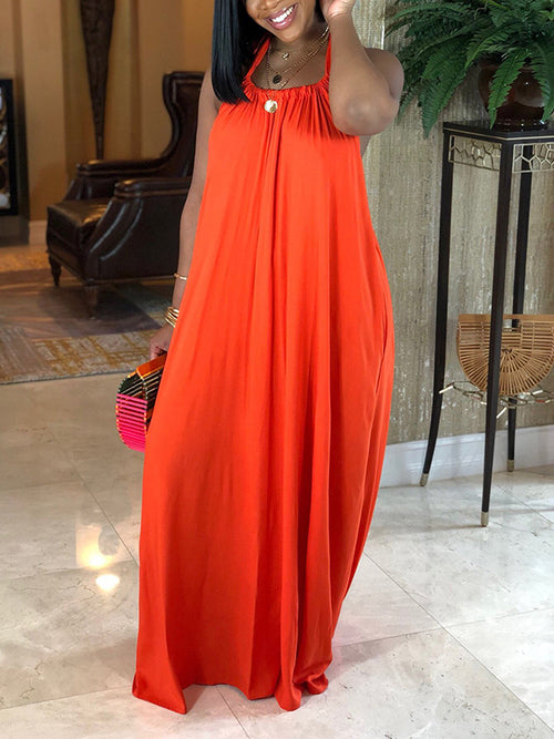 Halter Open Back Solid Color Maxi Dress