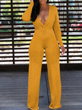 Sexy Solid Deep V-neck Long Sleeve Jumpsuit