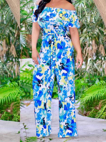 Flower Printed Ruffle Belted Wide Leg Jumpsuit