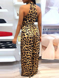 Sexy Leopard Print Sleeveless Split Jumpsuit