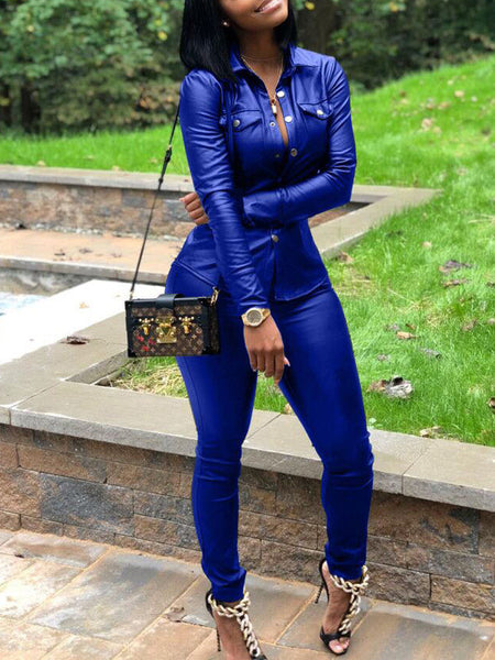 Leather Long Sleeve Solid PU Two Piece Outfits